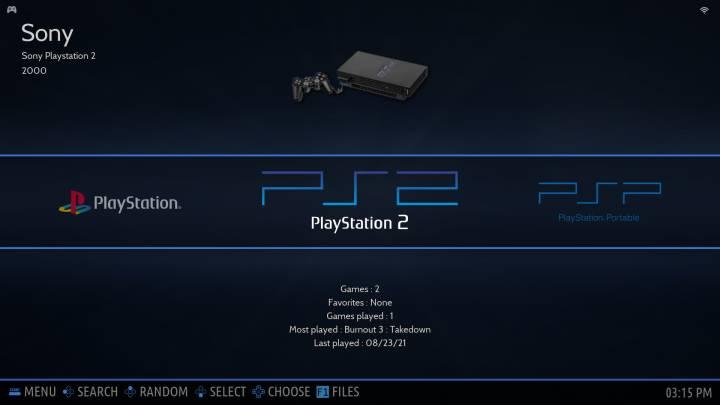 EmulationStation's system list.