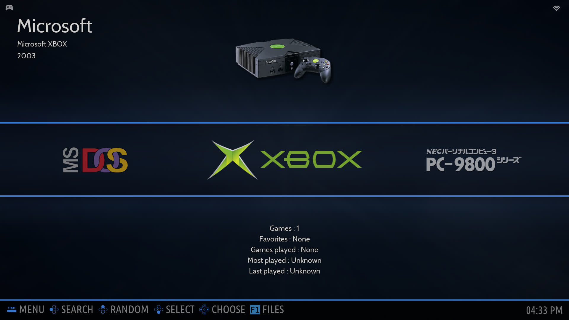 Xbox system as it appears in the system list.