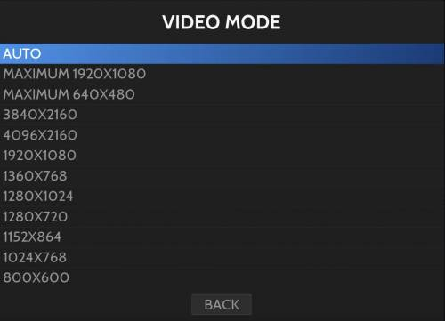 ES's video mode screen shows a list of available resolutions/their alternate modes.