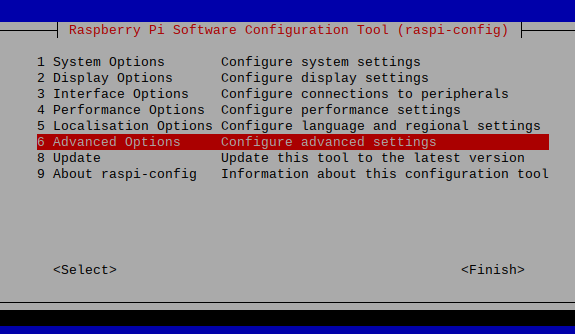 The raspi-config command line tool, should be familiar to Raspberry Pi users.