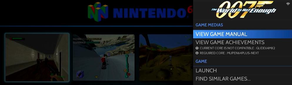 The games option menu.