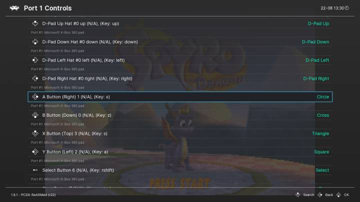 Inside the Controls > Port 1 menu.