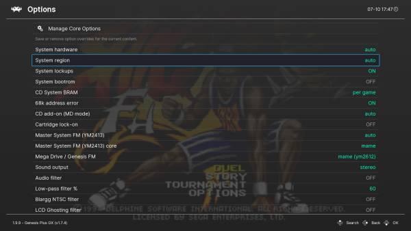 RetroArch's core options menu.
